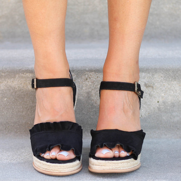 Naughty Monkey Love Wedges in Black - Shipping Department