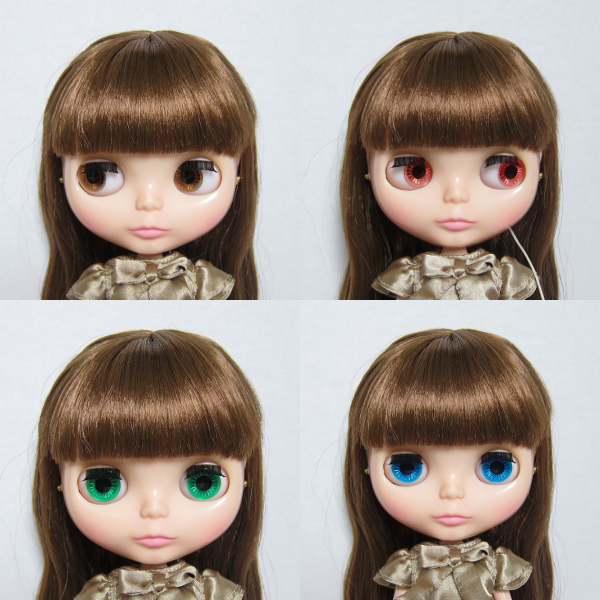 Blythe Raspberry Sorbet doll with brown, pink, blue, and green eyes