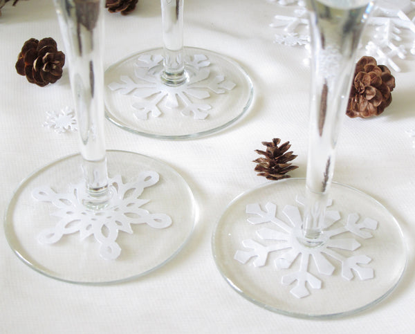 Snowflake Confetti Under Wine Glass for Winter Wedding or Party