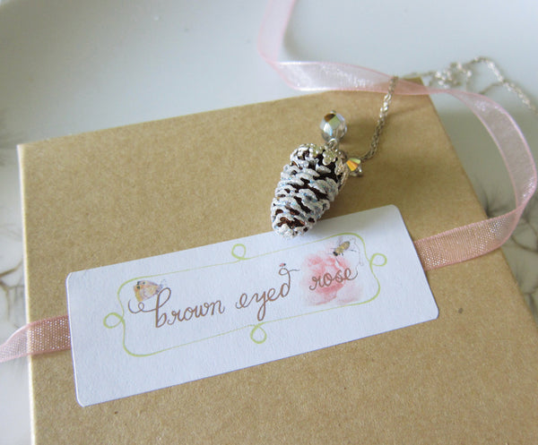 Pine Cone Necklace for Winter Wedding Bridesmaid Favors