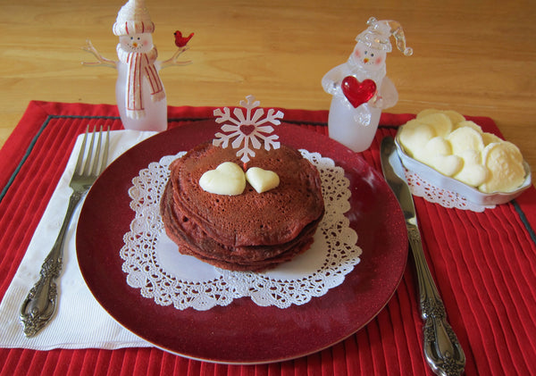 Red Velvet Pancakes with Cream Cheese Butter Hearts by Brown Eyed Rose