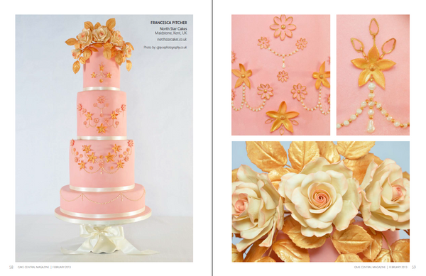 Vintage Inspired pink wedding cake