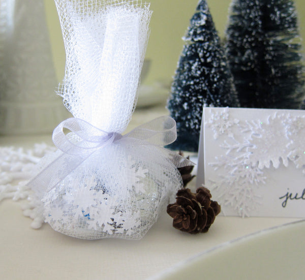 Wedding Party Favors with Snowflake Confetti