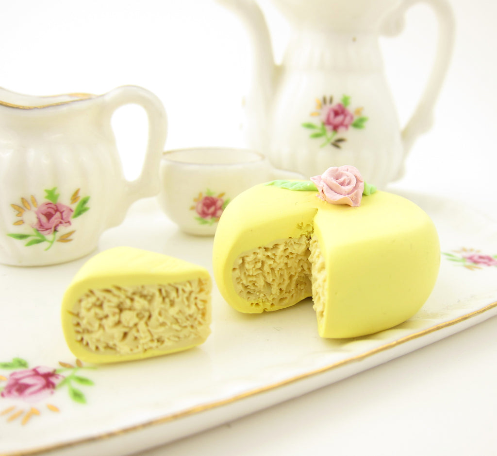 Polymer Clay Cake Yellow Miniature Dollhouse Scale with Pink Flower