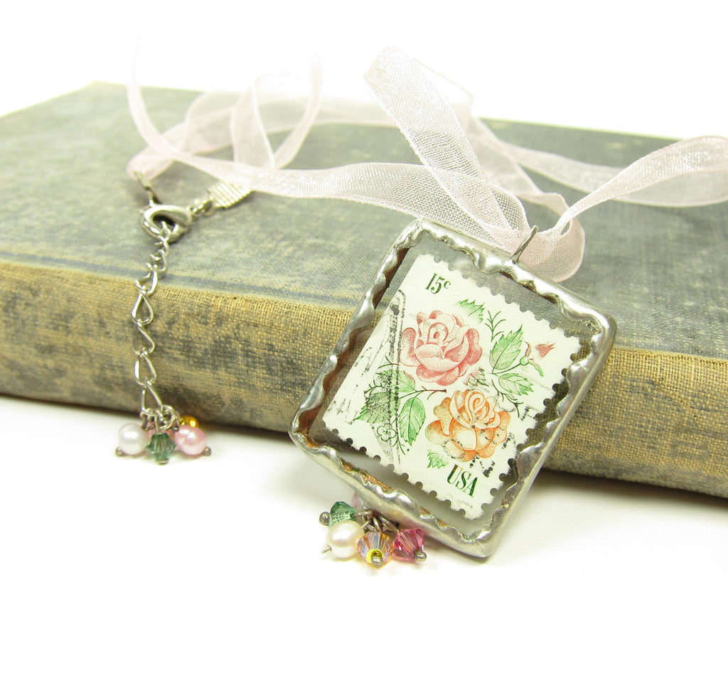 Rose Postage Stamp Necklace with Swarovski Crystals