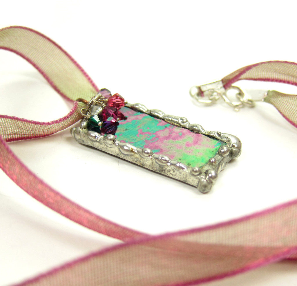Stained Glass Pendant Necklace with Mardi Gras Glass & Swarovski Crystals