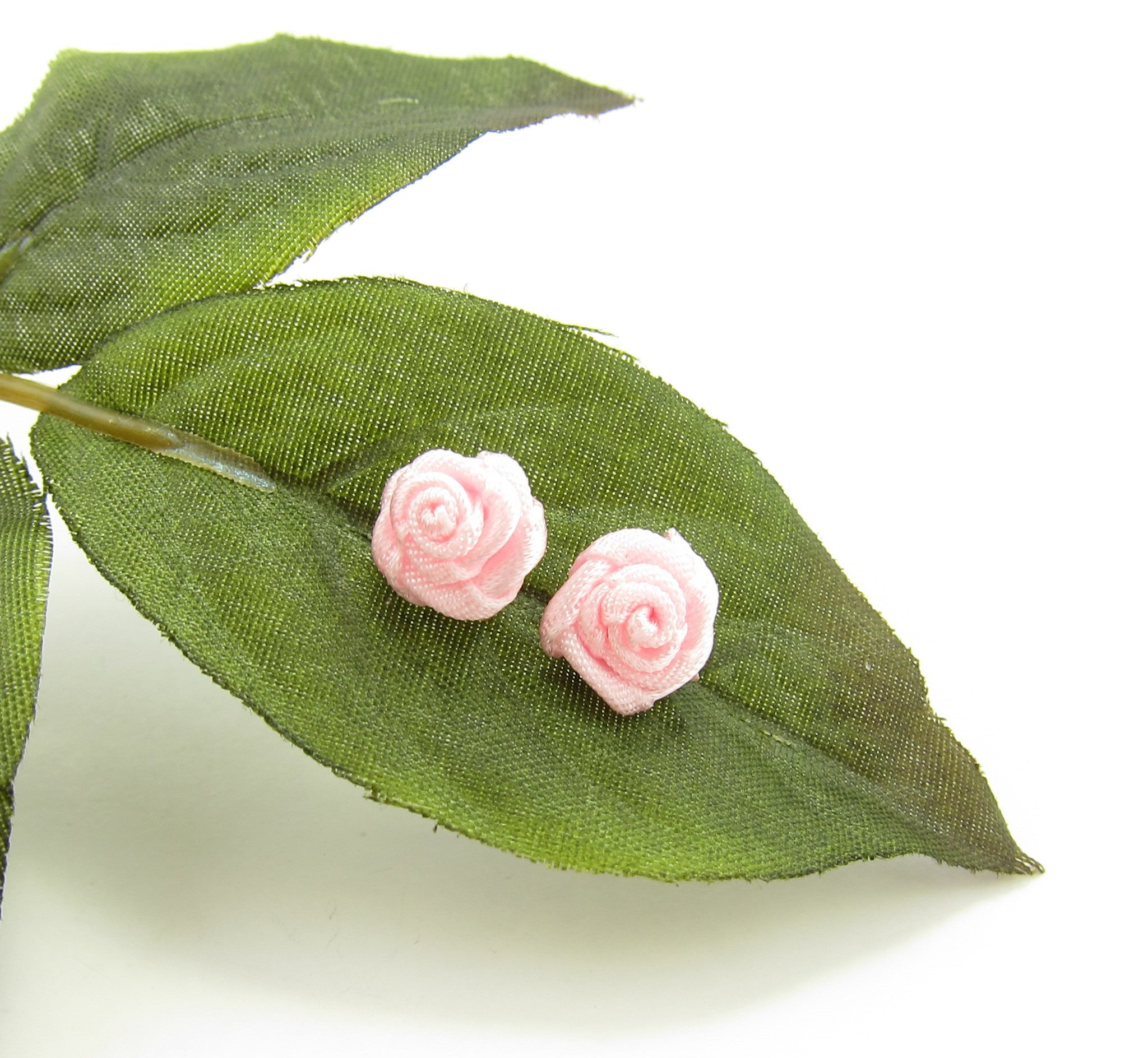 Pink Ribbon Rose Post Earrings