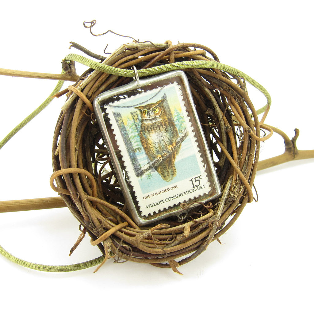 Owl Postage Stamp Soldered Pendant Necklace