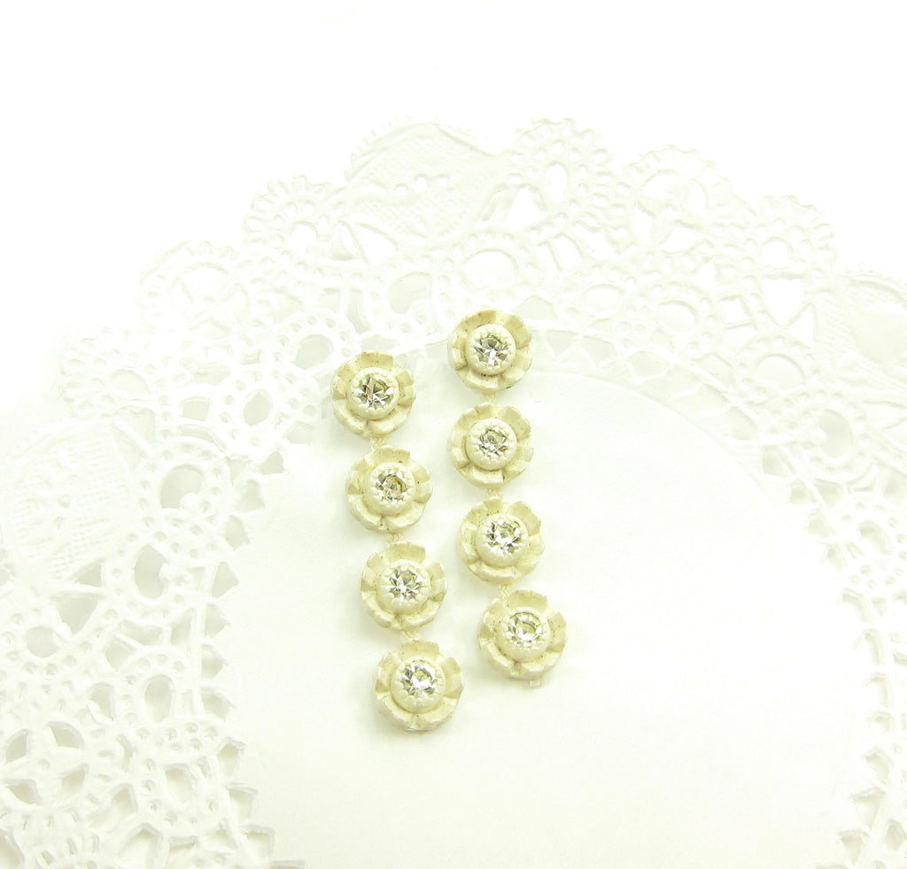 Rhinestone Rose Post Earrings with White Plastic Roses