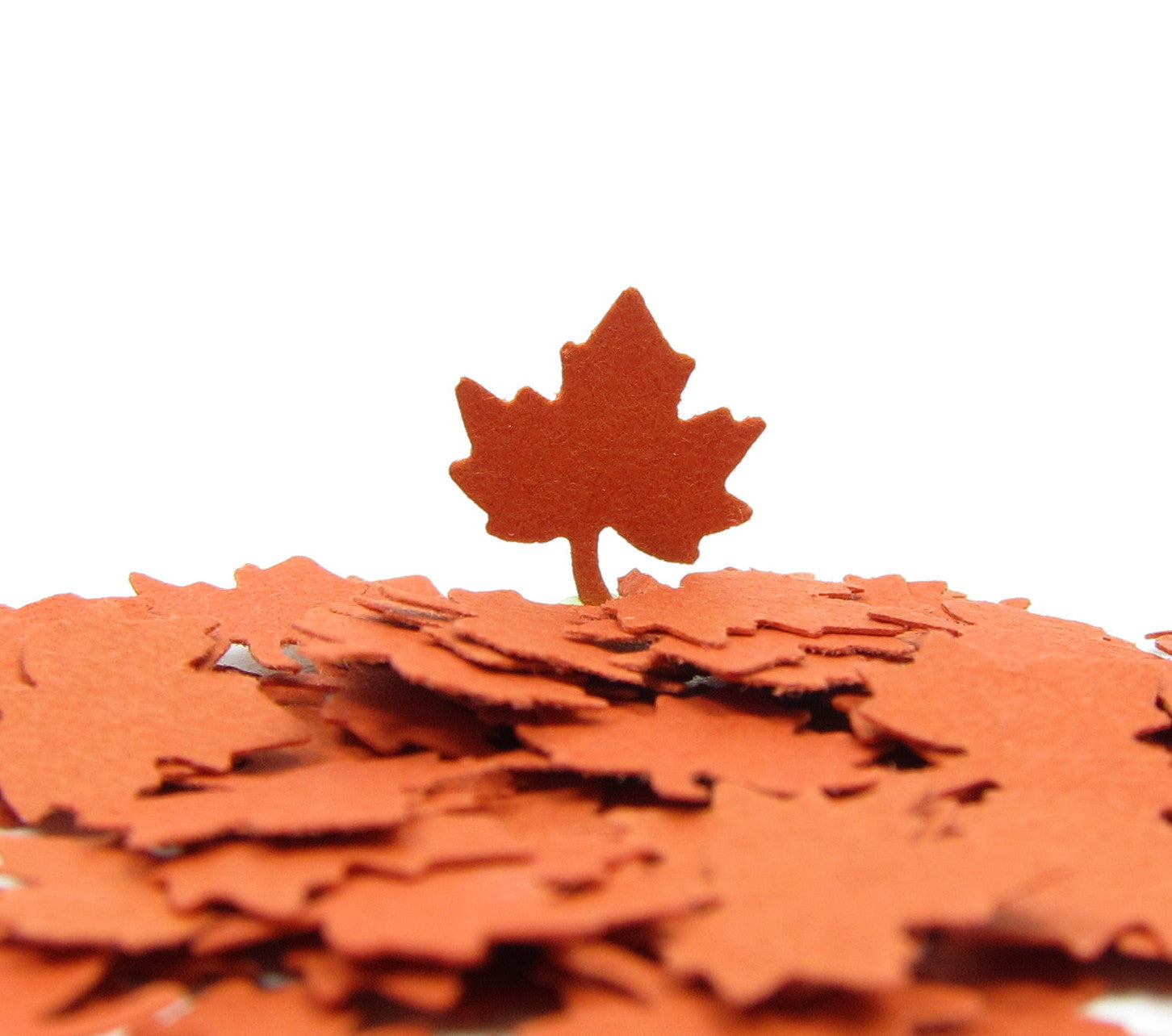 Rust orange maple leaf confetti