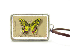 Butterfly Postage Stamp Soldered Pendant Necklace
