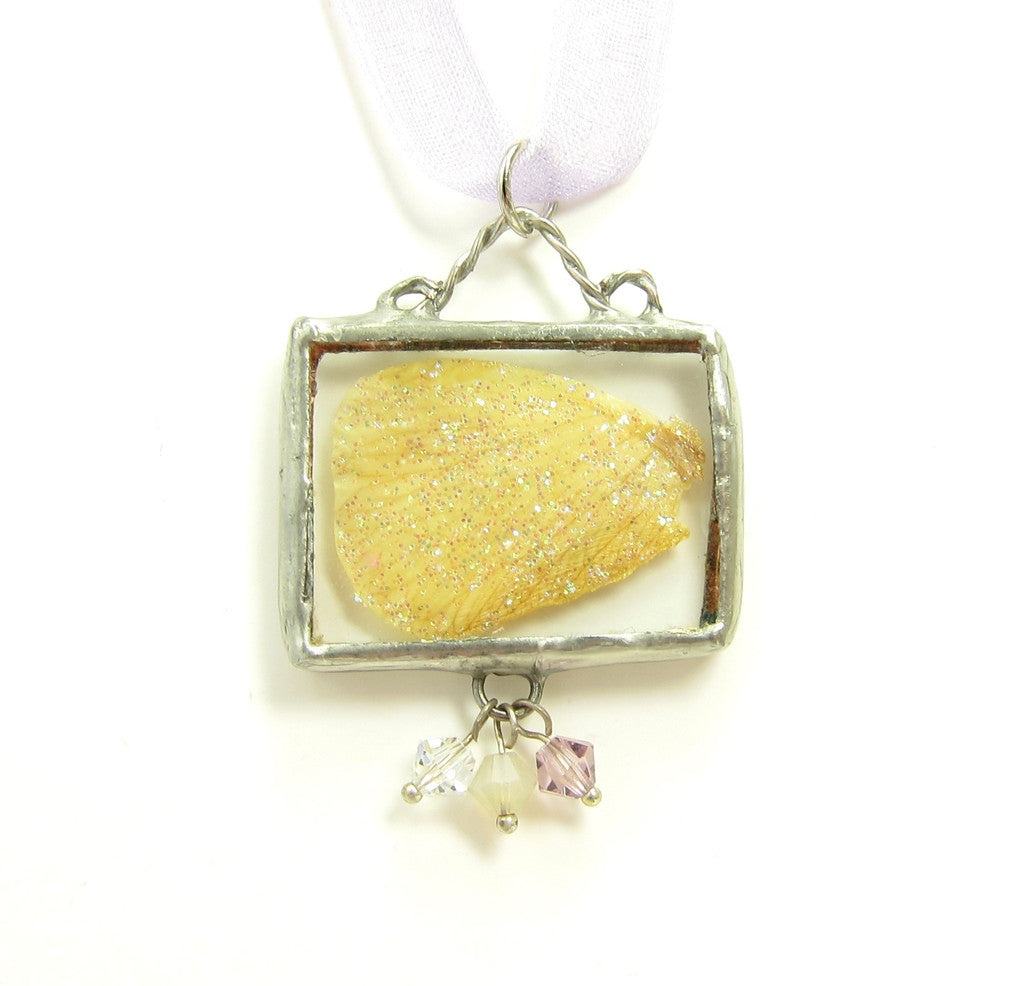 Yellow Fairy Wing soldered pendant necklace with lavender crystals