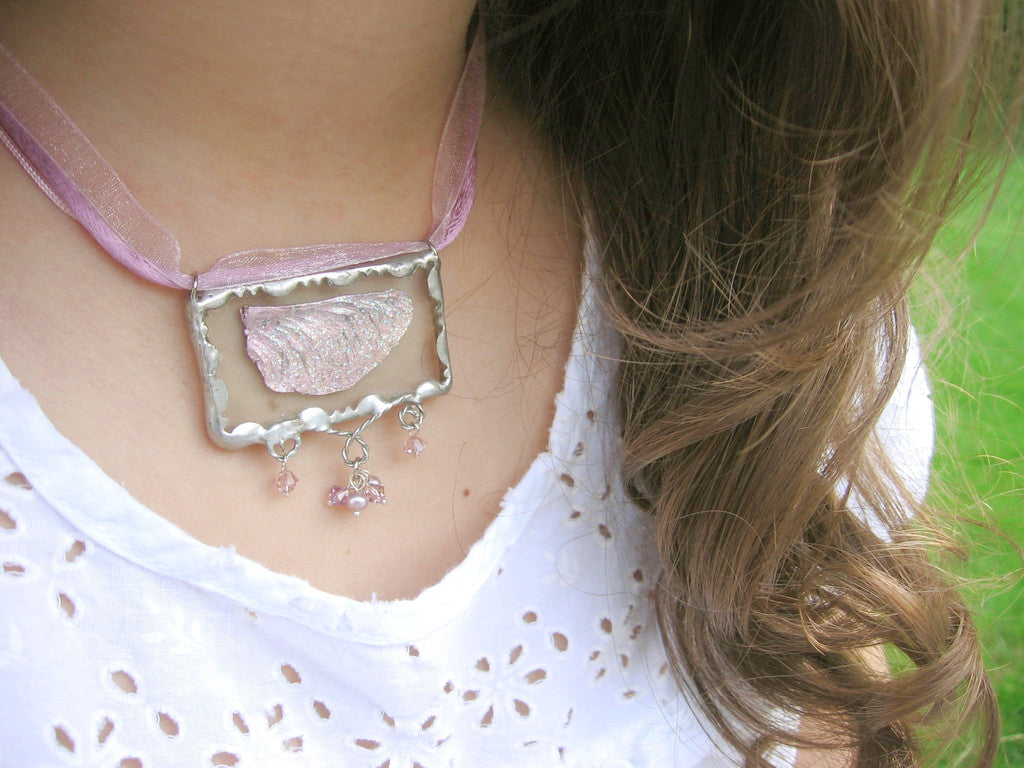 Fairy Wing Necklace with Pink Crystals, Soldered Glass Pendant