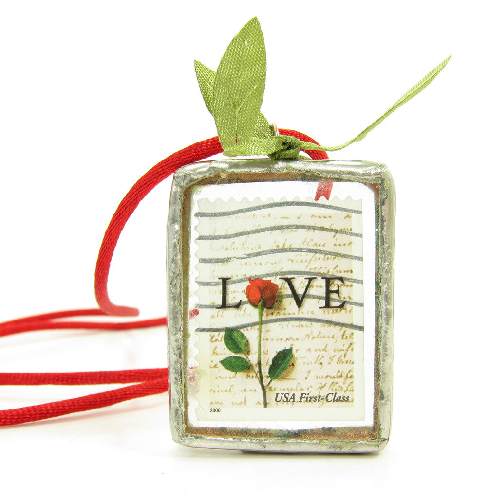 Red Rose Love Postage Stamp Soldered Pendant Necklace