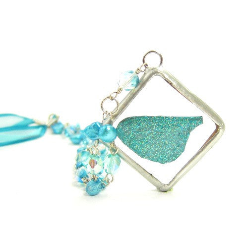 Teal Fairy Necklace with Fairy Wing Pendant in Soldered Glass