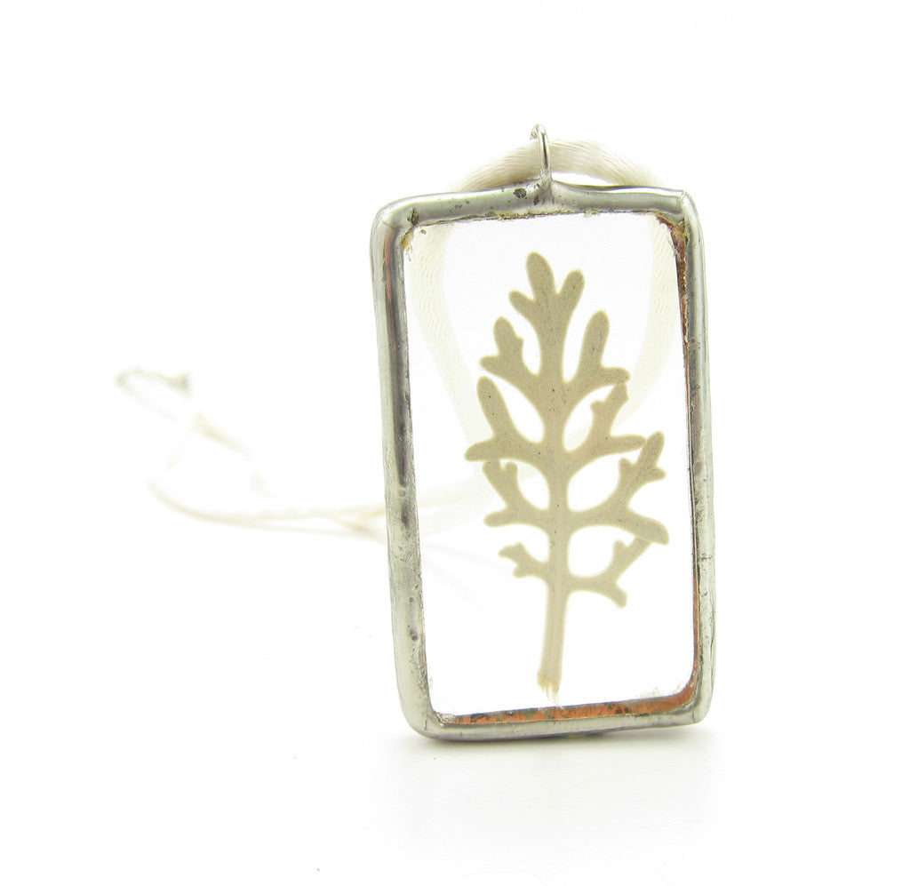 Dusty Miller Botanical Soldered Glass Pendant Necklace