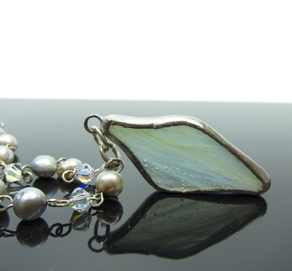 Fairy Wing Necklace Stained Glass, Freshwater Pearls & Sterling Silver
