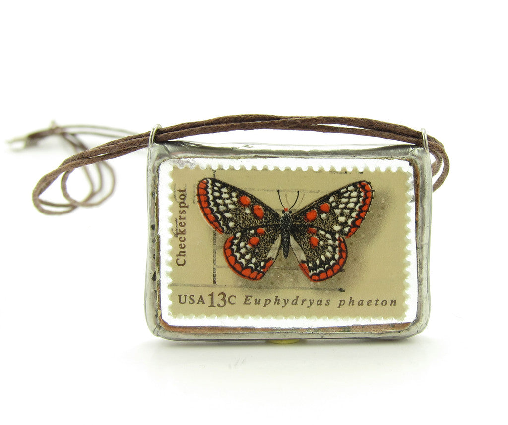 Butterfly Postage Stamp Necklace Soldered Pendant
