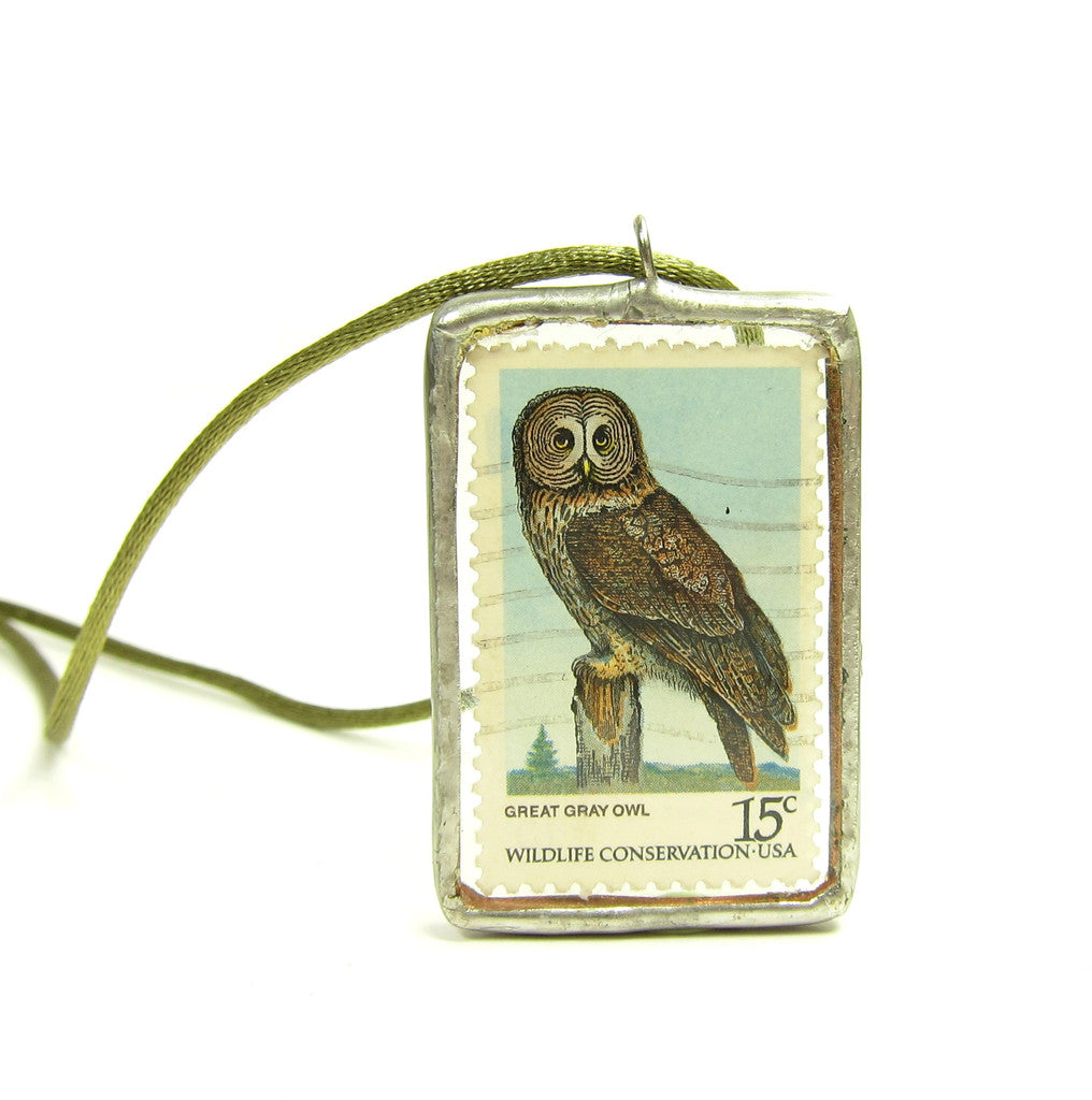 Owl Necklace Postage Stamp Soldered Pendant Great Gray & Horned Owl