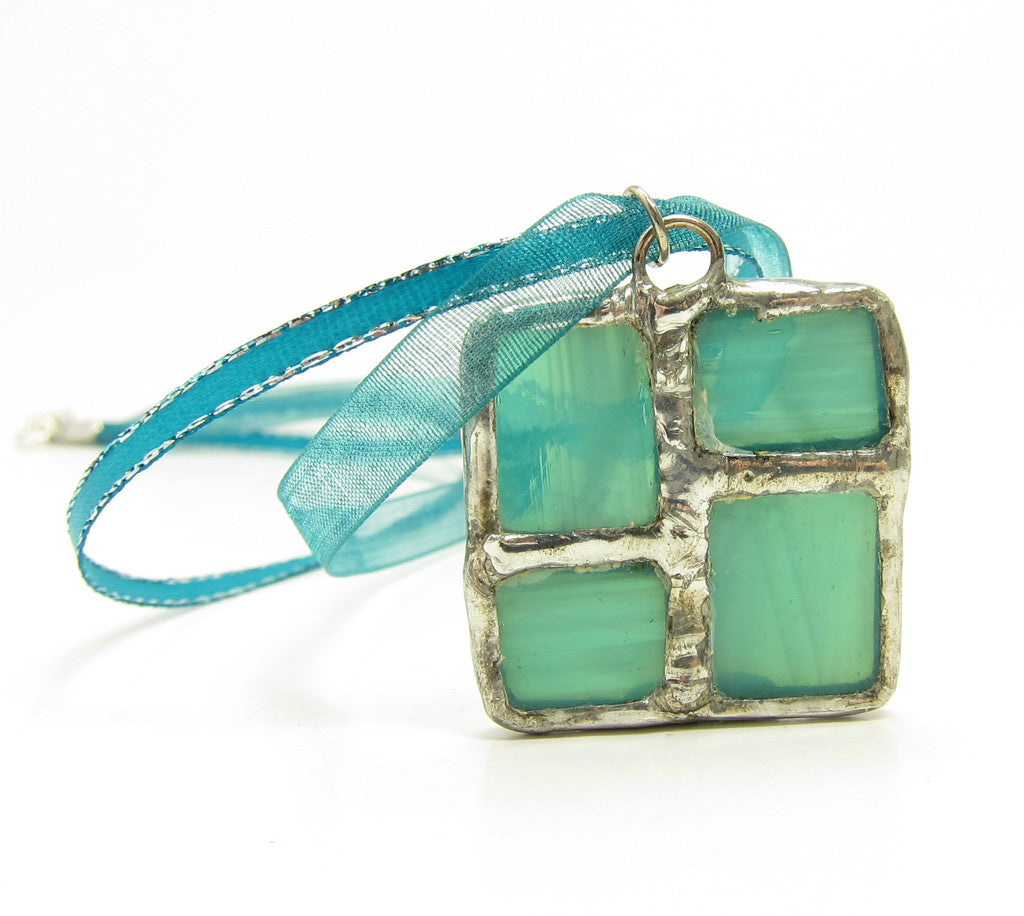 Teal Blue Stained Glass Square Necklace