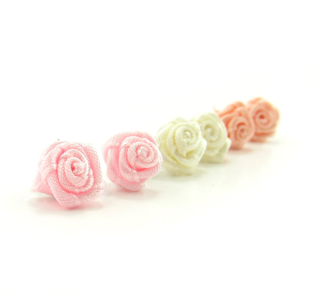 Ribbon Rose Post Earrings Pastel Girls Wedding Earrings Bridal Favors