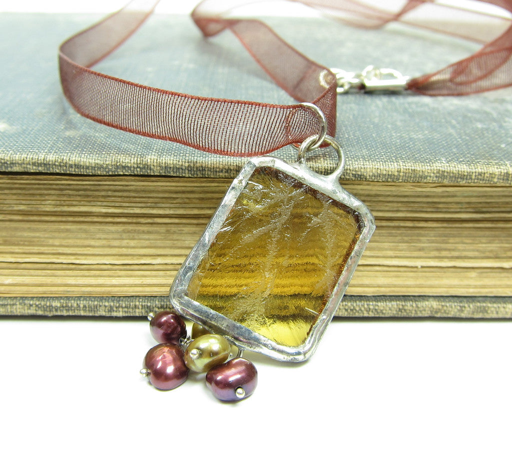 Yellow Stained Glass Necklace with Freshwater Pearls