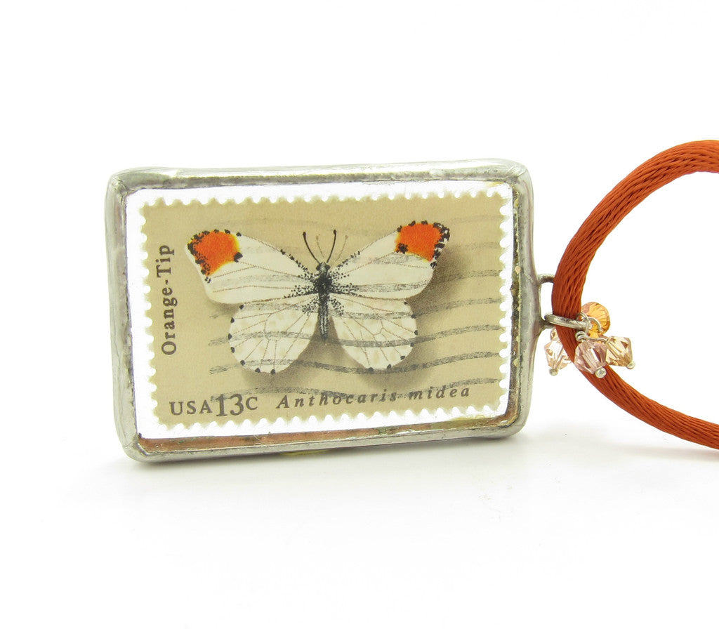 Butterfly Necklace Postage Stamp Soldered Glass Pendant