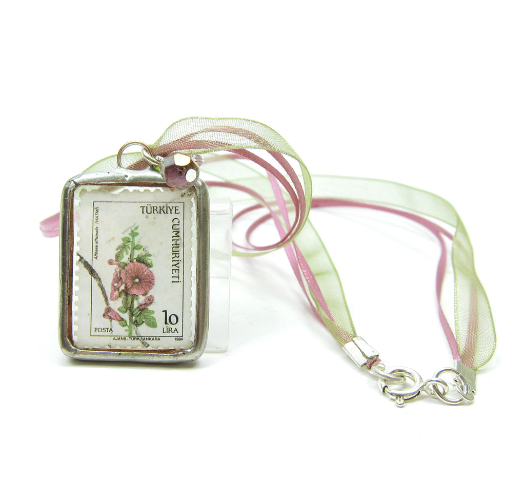 Botanical Flower Postage Stamp Necklace with Turkey Stamp