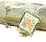 Rose Postage Stamp Soldered Pendant Necklace