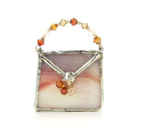 Stained Glass Purse Brooch in White, Mauve & Orange