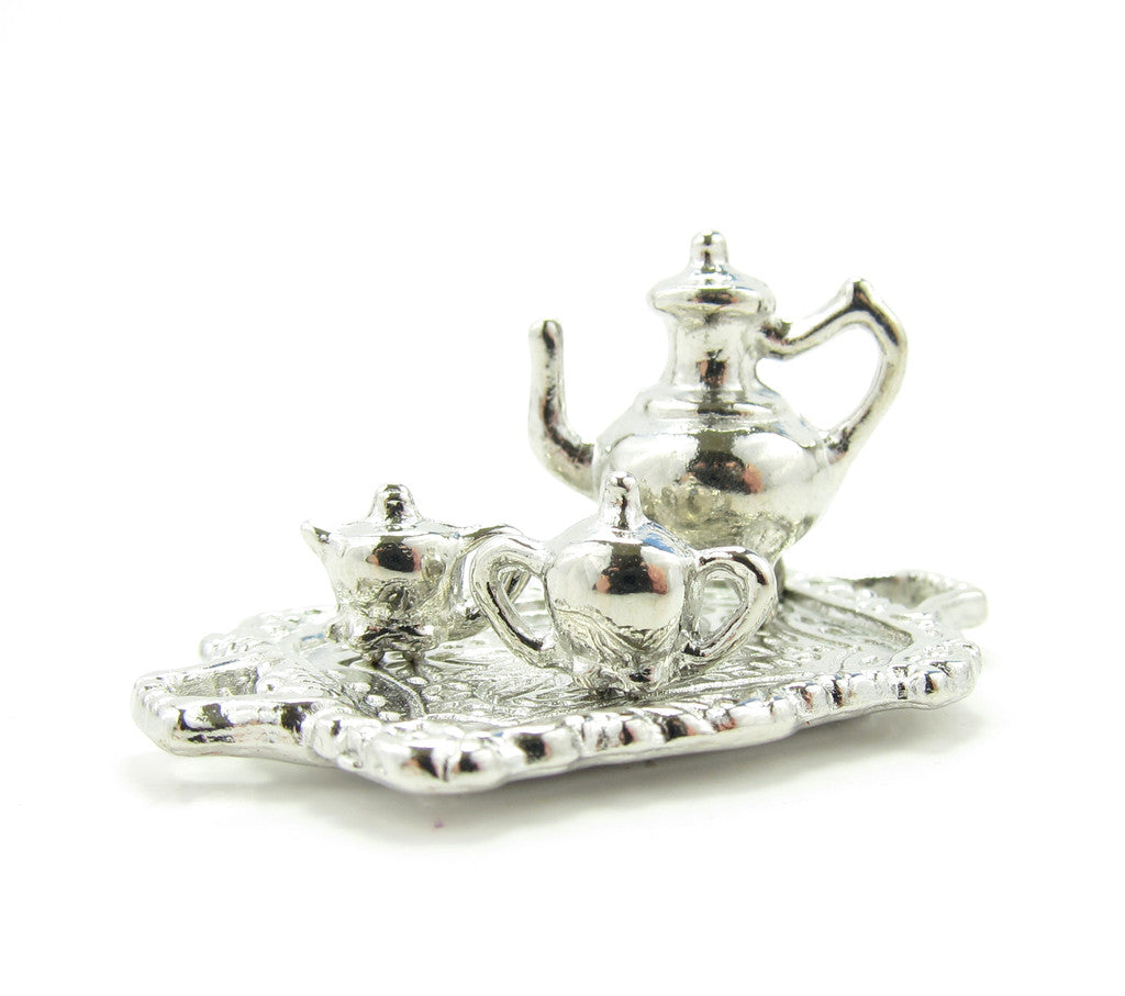 Dollhouse Tea Set Miniature Silver Teapot Sugar Creamer & Platter