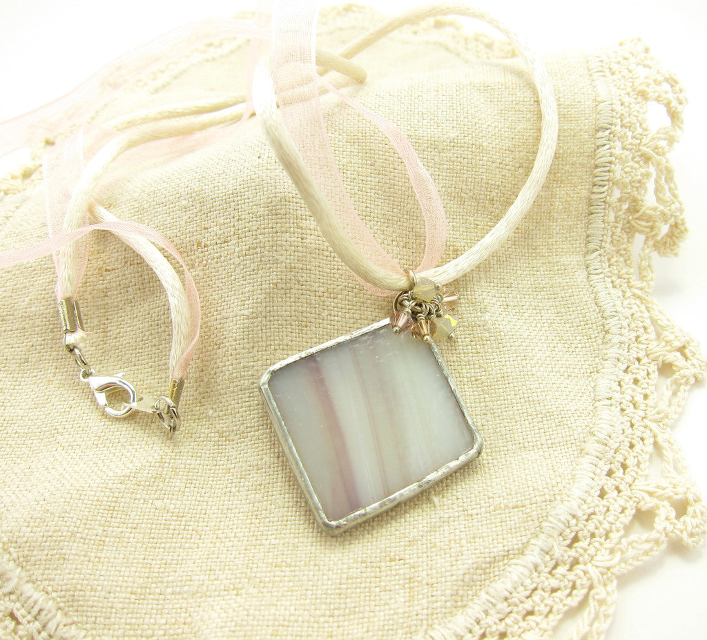 Mauve & White Stained Glass Pendant Necklace with Swarovski Crystals