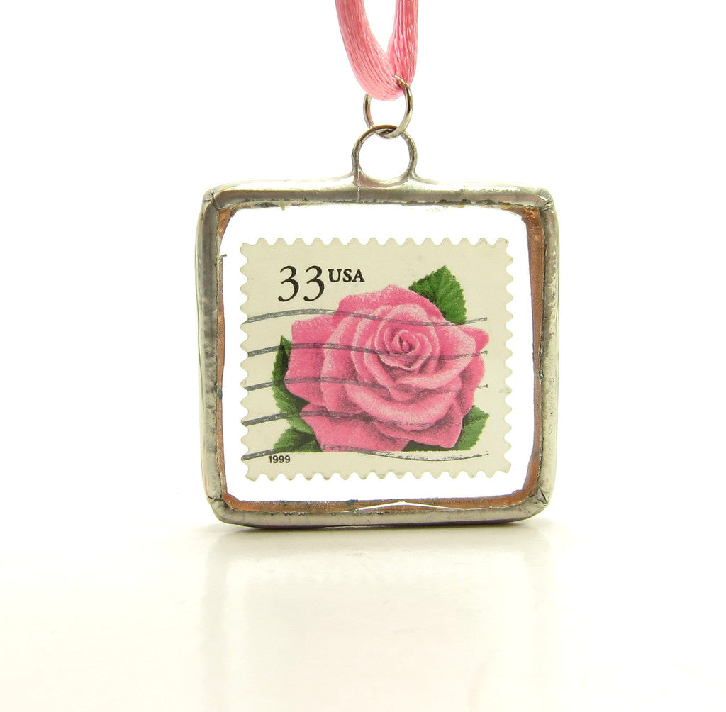 Pink Rose Postage Stamp in Soldered Glass Pendant Necklace