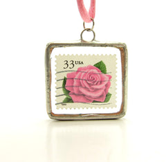 Pink Rose Postage Stamp Soldered Pendant Necklace