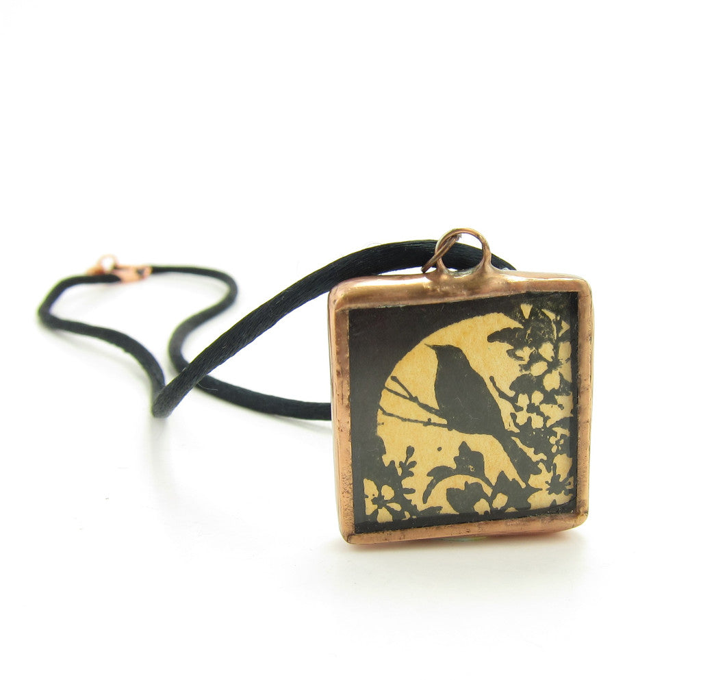 Raven Soldered Glass Pendant Necklace