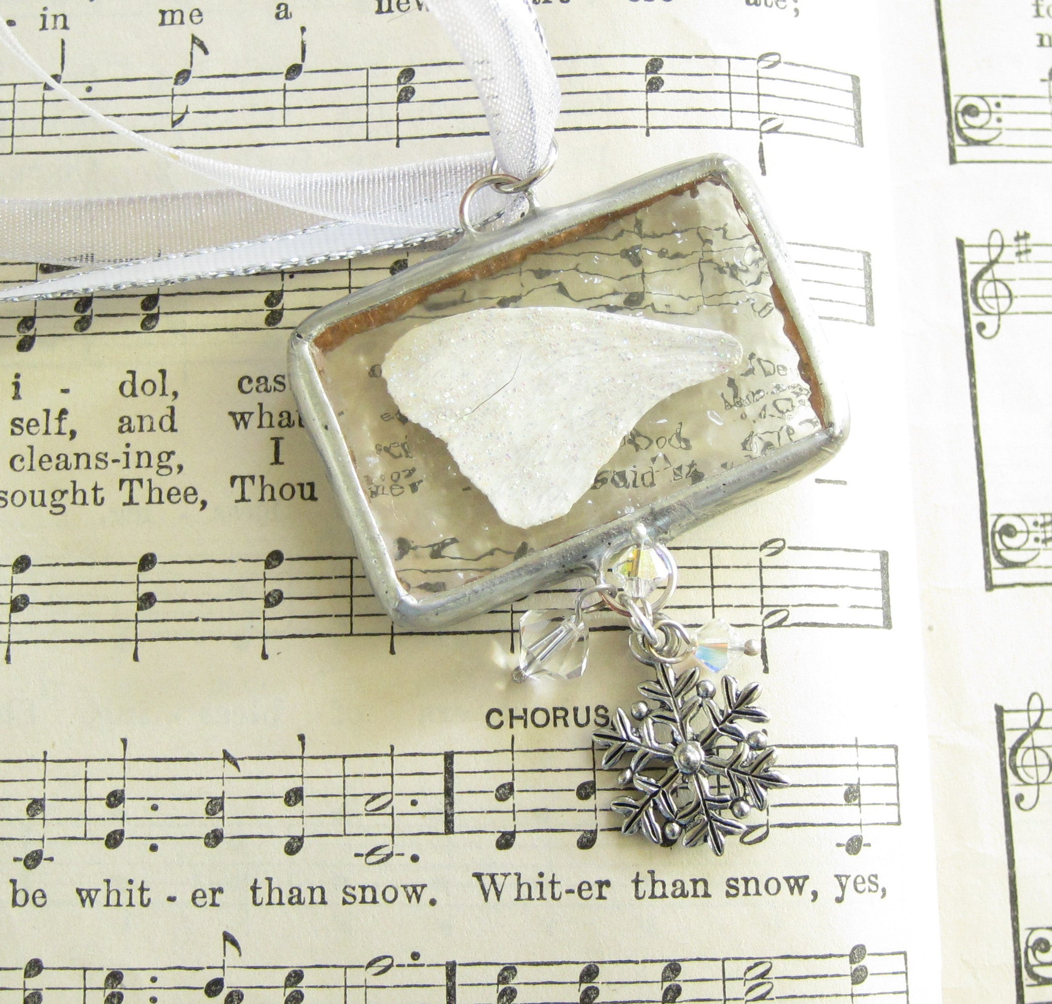 White Winter Fairy Wing Soldered Pendant Necklace