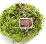 Woodland Fairy Necklace Garnet Fairy Wing in Soldered Glass Pendant