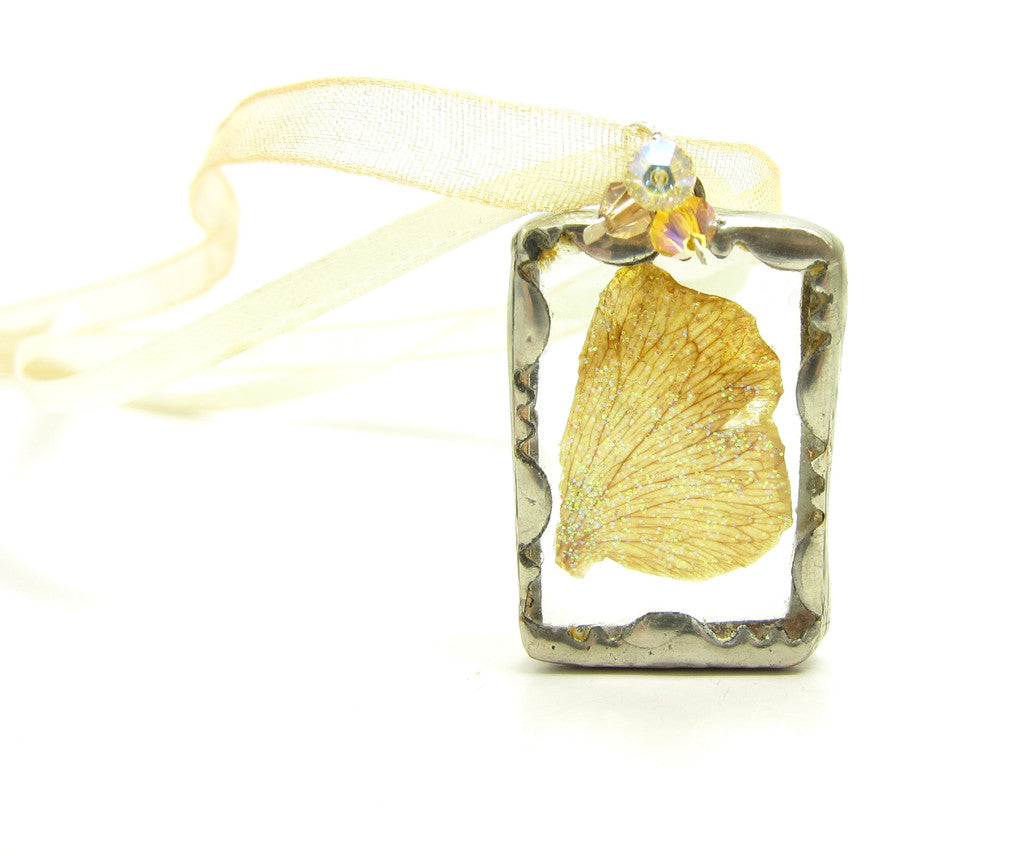Fairy Necklace Soldered Glass Pendant with Yellow Brown Fairy Wing