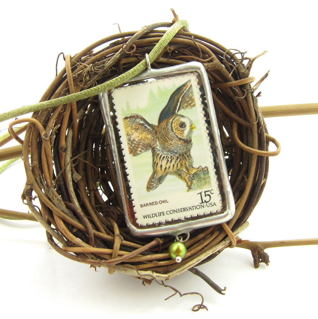 Owl Necklace Postage Stamp Soldered Pendant