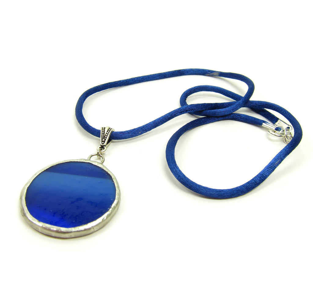Blue Moon Necklace Stained Glass Soldered Pendant