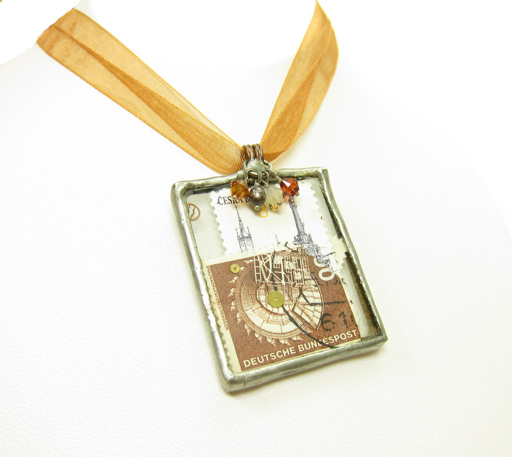 Postage Stamp Collage Necklace