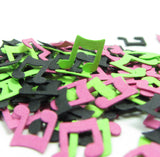 Black Pink Green Music Note Confetti