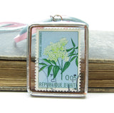 Haiti Postage Stamp Soldered Pendant Necklace