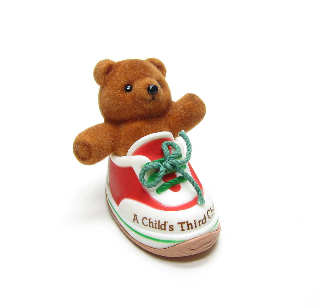 Child's Third Christmas Vintage 1985 Hallmark Teddy Bear in Shoe Keepsake Ornament