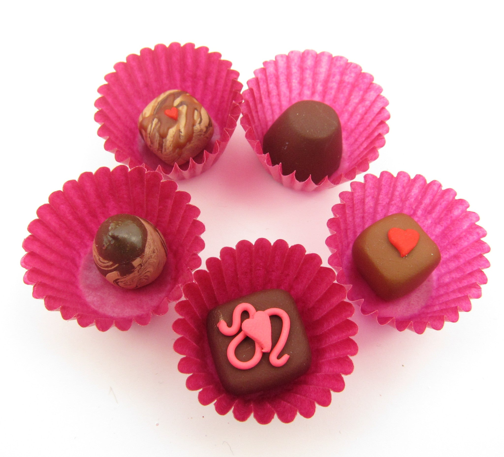Miniature Polymer Clay Chocolates in Pink Wrappers