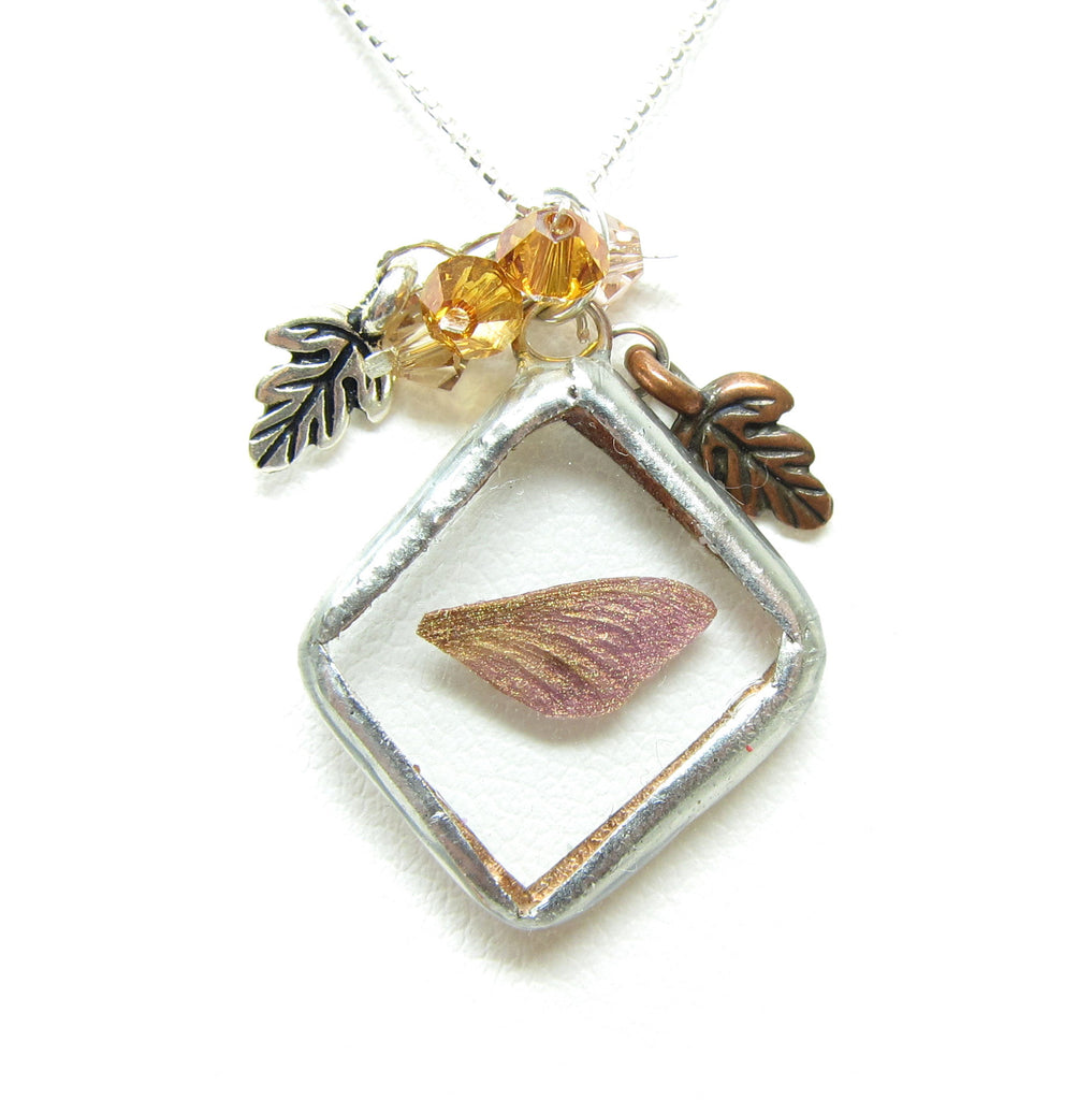 Autumn Fairy Necklace Soldered Glass Pendant with Miniature Faery Wing