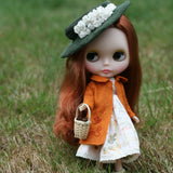 Wool autumn pea coat for Blythe and playscale dolls