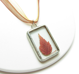 Red maple leaf soldered glass pendant necklace