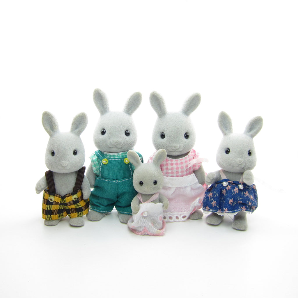 Babblebrook Grey Rabbit Family Vintage Sylvanian Families Bunnies