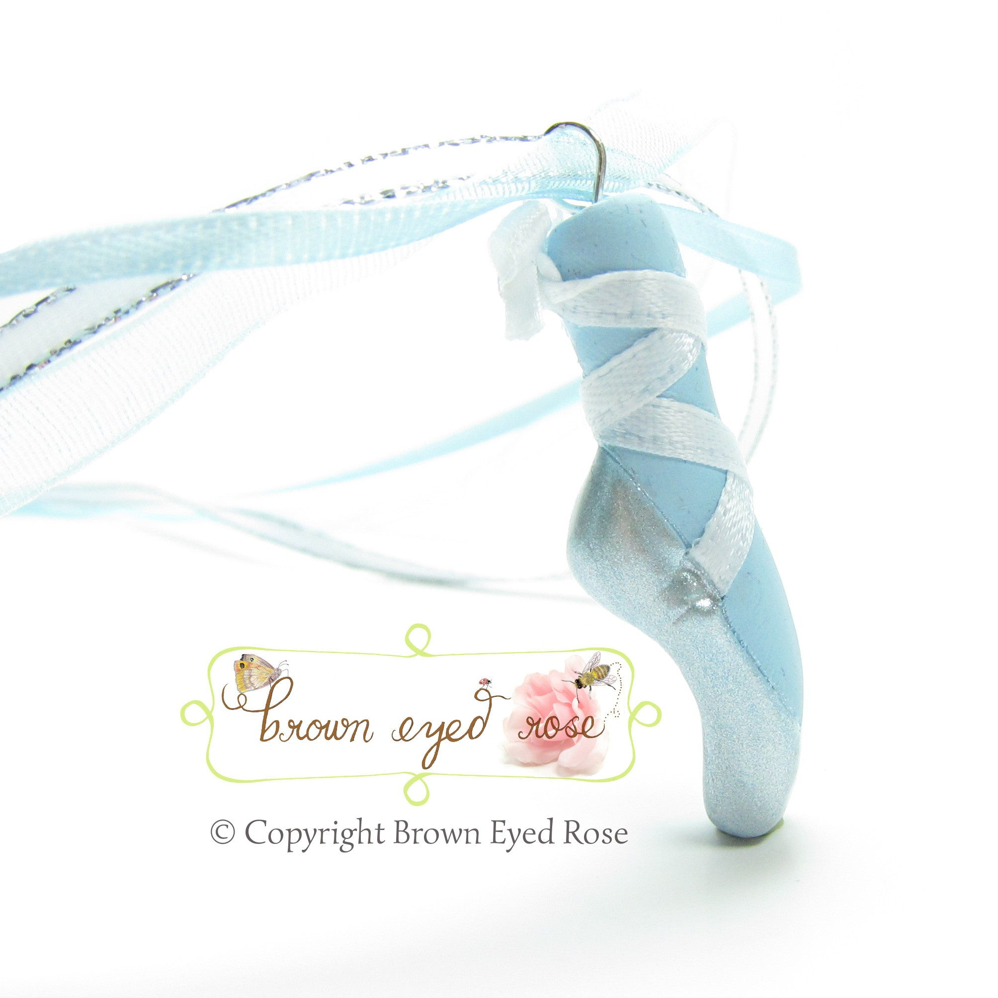 Blue Polymer Clay Pointe Shoe Ballet Necklace